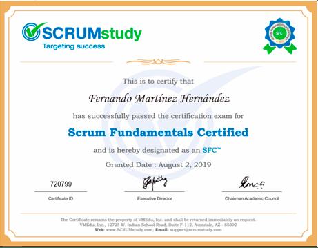 certificado de SCRUM a Fernando
