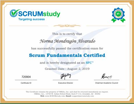 certificado de SCRUM a Norma