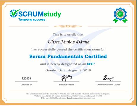 certificado de SCRUM a Ulises