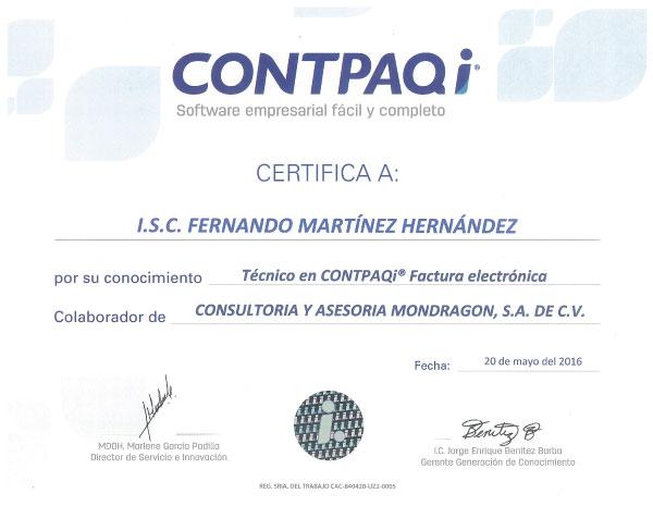 certificado de CONTPAQi a Fernando